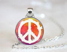 Vintage Peace Sign Tibetan silver Dome Glass Art Chain Pendant Necklace