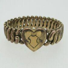 Vintage 1940's Gold Tone Sweetheart Expandable Heart Bracelet