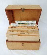 Vintage Handmade Wood Recipe Box With 100+ Handwritten Recipes Ephemera