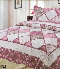 2pc set Single/King Single Cotton Patchwork Coverlet Quilted Throw Bedspread
