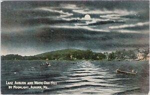 DB Tarr postcard, Lake Auburn and White Oak Hill by moonlight, Auburn, ME