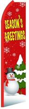 SEASON'S GREETINGS Holiday Xmas Swooper Flag Vertical Feather Bow Banner Sign