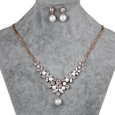 Rose gold pearl and crystal bridal necklace and earrings set