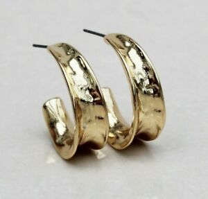 ORGANIC GOLD HOOPS HAMMERED GOLD HOOPS BIG CHUNKY GOLD EARRINGS NEW
