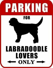 """Parking for Labradoodle Lovers Only (Red Ver.) 9"""" W x 11.5"""" H Laminated Dog Sign"""