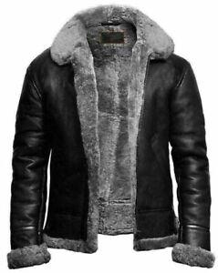 Men's B-3 RAF Fur Collar Bomber Sheep Skin Real Leather Jacket - Black