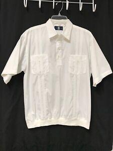 Vintage Classics OAK CREEK Banded Bottom Shirt Men's Medium Ivory Short Sleeve