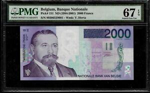 BELGIUM - 2000 FRANCS - P. # 151 - (1994 2001) - PMG SUPERB GEM UNC 67 EPQ