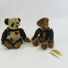 The Ganz Cottage Lot 2 Jointed Teddy Bears Panda Plush Bean Bag New Woody Puddin