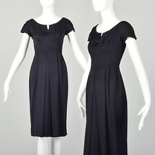 S 1940s Dress Navy Blue Boatneck Notched Bow Pleated Skirt Pinup WWII 40s VTG