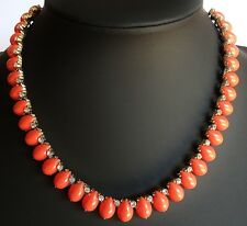 Vintage Necklace Choker LISNER Coral Colour Thermoset Lucite w Ice Rhinestone 95