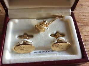 Stratton Cuff Links & Tie Pin, Hand Engraved, Gold Colour, Boxed