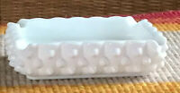 Vintage White Milk Glass  Hobnail Ashtray w 4 Cigarette Indented Spaces