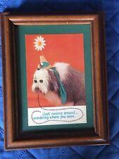 Custom Framed Old English Sheepdog Sheep Dog Post Card