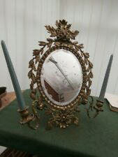 Victorian Mirror with 2 Candlestck Holders. Brass.
