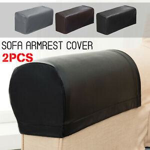 2Pcs Removable  Armrest Covers Stretch Sofa Arm Cover Couch Protector PU Leather