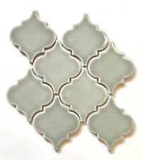 Arabesque Soft Green Crackled Finish Porcelain Mosaic Tile Kitchen Backsplash