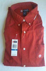 NEW Chaps Shirt Sz XL Button Down Collar Brick Red Rust Color Long Sleeve Cotton