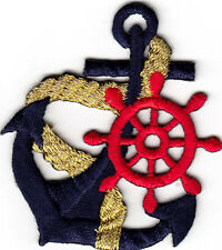 ANCHOR-NAVY w/GOLD ROPE & RED WHEEL - NAUTICAL- BOAT - IRON ON EMBROIDERED PATCH