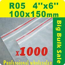 "1000 x R05 100X150mm(4""X6"") Resealable/ Zip Lock ZipLock Plastic Seal Bags"