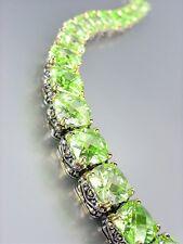 Designer Style Silver Gold Balinese Green Peridot CZ Crystals Links Bracelet