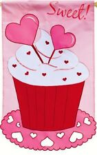 Sweet! Treats Cupcake Cupcakes Cake  Hearts Pastry Shop Sm Applique 2 Side Flag