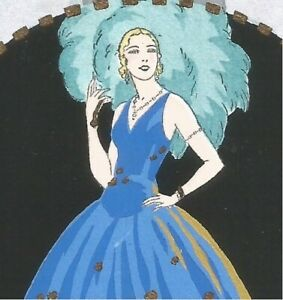 "Giovanni MESCHINI. Art Deco Lady. Hand painted. ""Ars Nova"" 3."