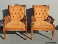 Pair Vintage Mid Century Burnt Orange Tufted Velvet & Cane Accent CHAIRS