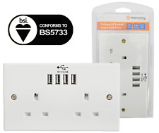 UK Twin Socket USB 13A 2 Gang Electric Wall Socket Faceplate 4 USB Outlets 4.8A