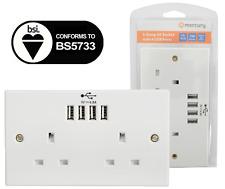 GB Individual enchufe USB 13a 2 TOMAS Eléctrico de Pared Placa 4 4.8a