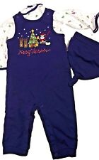 Infant Baby Boy 3 Pc Coveralls Shirt Hat Christmas Tree Reindeer Santa 3-6 mo