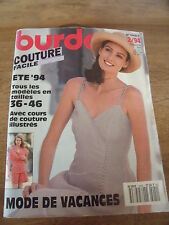 BURDA COUTURE FACILE  COURS ILLUSTRES MODE VACANCES ROBES DECOLLETEES  02 /1994