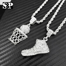 "Hip Hop Iced JD SHOE & BASKETBALL Pendant w/ 24"" Chain 2 Necklace COMBO Set"