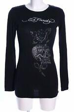 ED HARDY Longsleeve schwarz Motivdruck Casual-Look Damen Gr. DE 38 Shirt
