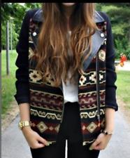 Zara Jacke Azteken strukturiert vintage gr.36 neu lederdetail boho vintage