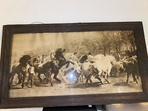 ANTIQUE FRENCH MID 19th C. SEPIA PRINT ROSA BONHEUR THE HORSE FAIR