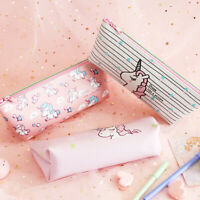 Cute Unicorn Pencil Case Storage Pouch Stationery Pen Box Makeup Cosmetic Bag