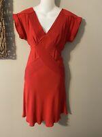 DVF Diane von Furstenberg Ruby Red V Front Back Short Sleeve Silk Dress 4