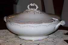Wm. Grindley England - Large Tureen w/ Lid - White w/ Gold Trim - Circa 1918