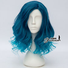 40cm Ombre Mixed Blue Lolita Curly Women Party Hair Cosplay Wig Heat Resistant