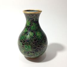 Vintage Small Chines Art Green Flowers Leaves Gold Color Trim Cloisonne Vase VGC