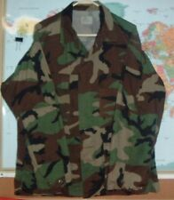 ARMY USMC WOODLAND CAMO BDU HUNTING JACKET SHIRT LARGE REGULAR