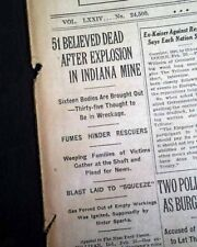 SULLIVAN INDIANA Hamilton Township Coal Mine EXPLOSION Disaster 1925 Newspaper