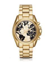 New Michael Kors Bradshaw Hunger Gold Black Chronograph Globe Dial Watch MK6272