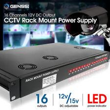 200W Rack Mount 1.5U CCTV Power Supply Regulated 16 Port 16 Amp 12V DC Output
