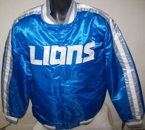 DETROIT LIONS Starter Snap Down Jacket BLUE   M L