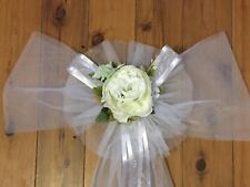 Wedding Party Decoration Large Chair Pew or Car Bow X 1 White Roses