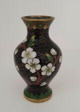 "Vintage / Antique Small Cloisonne Vase 3"" Tall black floral"