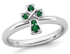 1/8 quilates (quilates) laboratorio creado anillo de cruz de Esmeralda en plata esterlina