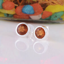 925 Sterling Silver Natural Hessonite Garnet 6 mm Round Cut Gem Studs Earrings